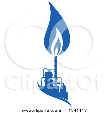 Clipart of a Silhouetted Blue Natural Gas and Flame Factory 4 - Royalty Free Vector Illustration by Vector Tradition SM