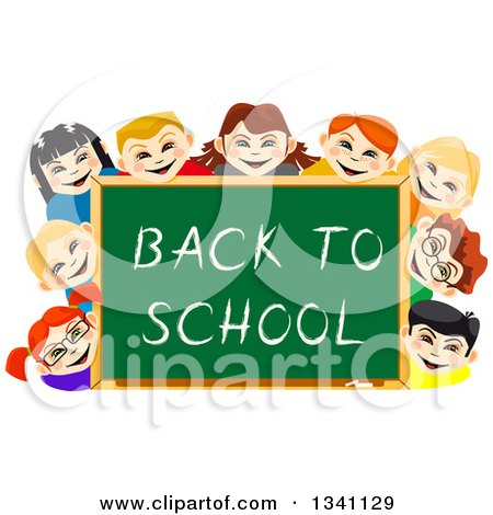 Clipart of Happy Children Smiling Around a Back to School Chalk Board - Royalty Free Vector Illustration by Vector Tradition SM
