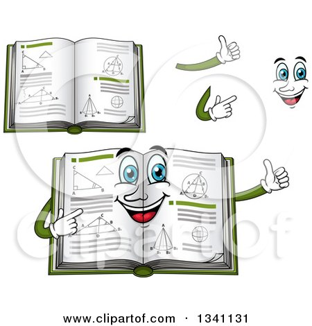 Clipart of a Cartoon Face, Hands and Geometry Math Books - Royalty Free Vector Illustration by Vector Tradition SM