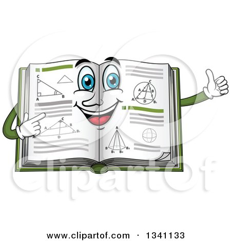 Clipart of a Cartoon Geometry Math Book Character Giving a Thumb up - Royalty Free Vector Illustration by Vector Tradition SM