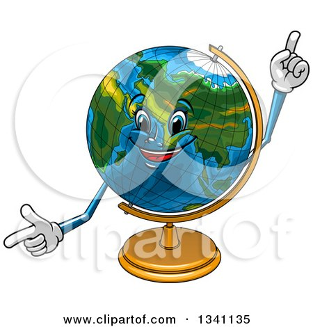 Clipart of a Cartoon Desk Globe Character Pointing and Holding up a Finger - Royalty Free Vector Illustration by Vector Tradition SM