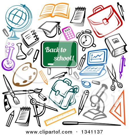 Clipart of a Back to School Chalkboard and Sketched Supplies - Royalty Free Vector Illustration by Vector Tradition SM