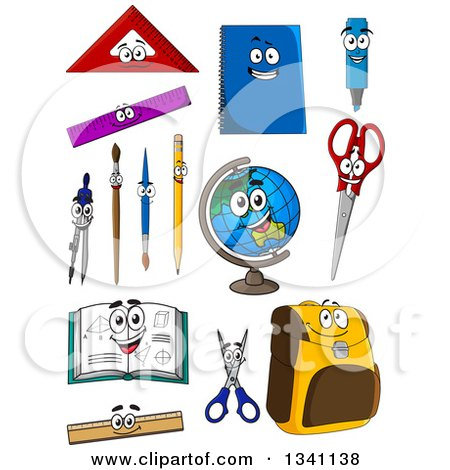 Clipart of Cartoon School Supply Characters - Royalty Free Vector Illustration by Vector Tradition SM