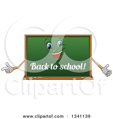 Clipart of a Cartoon Chalkboard Character with Back to School Text - Royalty Free Vector Illustration by Vector Tradition SM