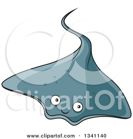 Clipart of a Cartoon Gray Sting Ray - Royalty Free Vector Illustration by Vector Tradition SM