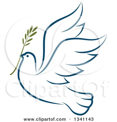 Clipart of a Sketched Flying Navy Blue Peace Dove with a Branch 3 - Royalty Free Vector Illustration by Vector Tradition SM