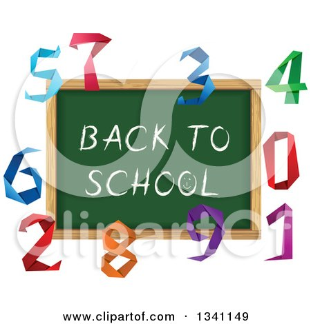 Clipart of a Back to School Chalk Board Surrounded by Colorful Origami Numbers - Royalty Free Vector Illustration by Vector Tradition SM