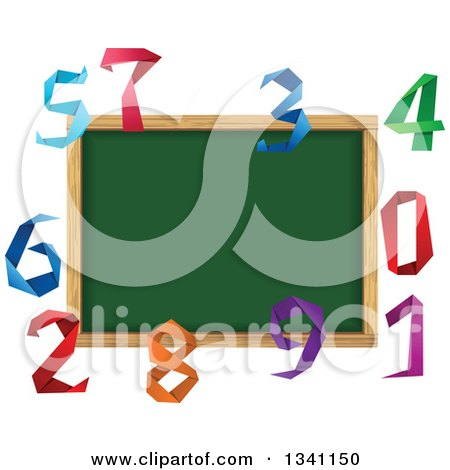 Clipart of a Blank Chalk Board Surrounded by Colorful Origami Numbers - Royalty Free Vector Illustration by Vector Tradition SM