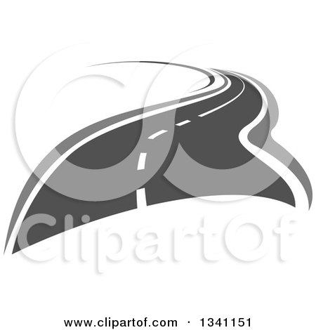 Clipart of a Grayscale Curvy Two Lane Highway Road - Royalty Free ...