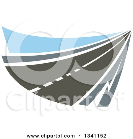 Clipart of a Two Lane Highway Road with Blue - Royalty Free Vector Illustration by Vector Tradition SM
