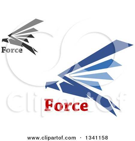 Clipart of Blue and Black Flying Eagles with Force Text - Royalty Free Vector Illustration by Vector Tradition SM