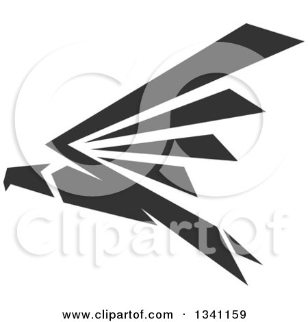 Clipart of a Dark Gray Flying Eagle - Royalty Free Vector Illustration by Vector Tradition SM