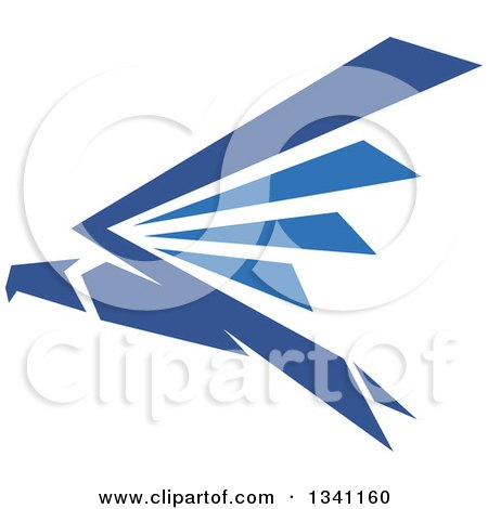 Clipart of a Blue Flying Eagle - Royalty Free Vector Illustration by Vector Tradition SM