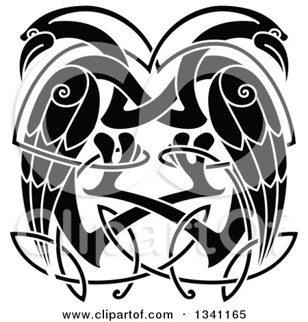 Clipart of Black and White Celtic Knot Cranes or Herons - Royalty Free Vector Illustration by Vector Tradition SM
