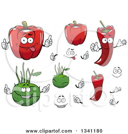 Clipart of Pepper and Kolhrabi Vegetables - Royalty Free Vector Illustration by Vector Tradition SM