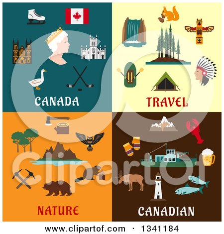 Clipart of Flat Canadian Travel and Nature Designs - Royalty Free Vector Illustration by Vector Tradition SM