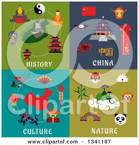 Clipart of Flat Chinese History, Culture and Nature Designs - Royalty Free Vector Illustration by Vector Tradition SM
