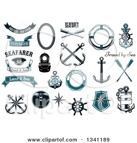 Clipart of Nautical Design Elements - Royalty Free Vector Illustration by Vector Tradition SM