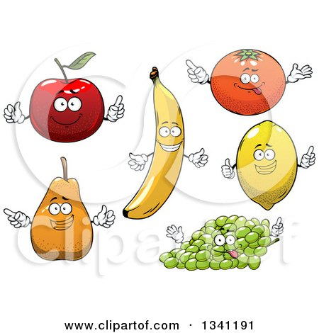 Clipart of Cartoon Apple, Banana, Orange, Lemon, Green Grapes and Pear Characters - Royalty Free Vector Illustration by Vector Tradition SM