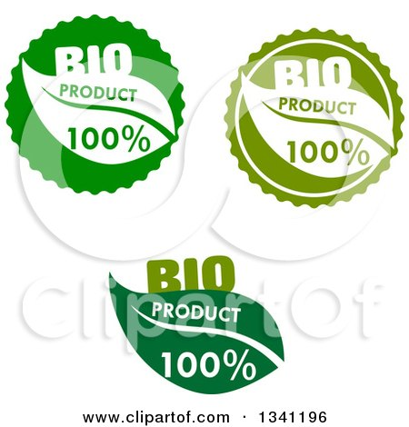 Clipart of Green Bio Product Leaf Labels - Royalty Free Vector Illustration by Vector Tradition SM