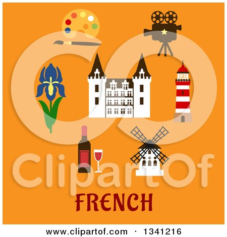 Clipart of a Flat Design French Castle Encircled with a Bottle of Red Wine with Glass, Windmill, Movie Projector, Lighthouse, Paint Palette, Royal Iris Flower and Text on Orange - Royalty Free Vector Illustration by Vector Tradition SM