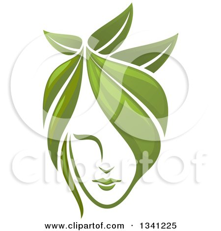 Clipart of a Woman's Face with Green Leaf Hair - Royalty Free Vector Illustration by Vector Tradition SM