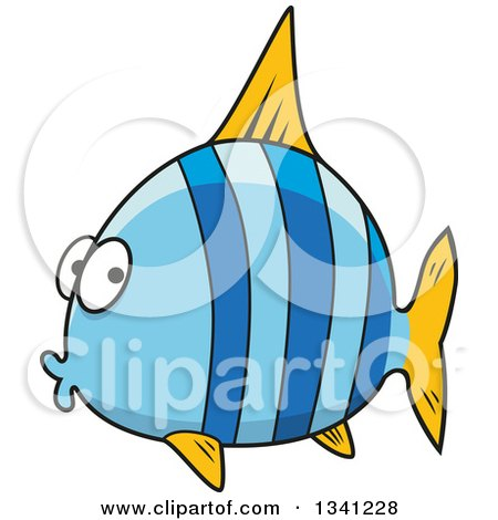 Clipart of a Cartoon Chubby Blue Striped Marine Fish - Royalty Free Vector Illustration by Vector Tradition SM