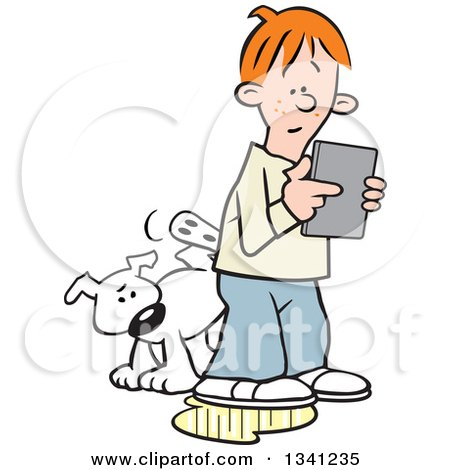 Clipart of a Cartoon White Dog Peeing on an Oblivious Red Haired White Boy's Leg As He Plays with a Tablet Computer - Royalty Free Vector Illustration by Johnny Sajem