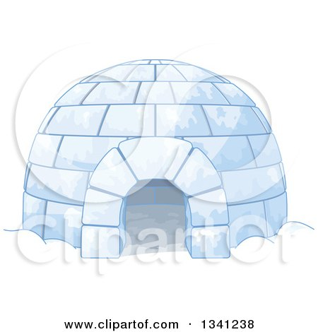 Clipart of a Cartoon Igloo Shelter - Royalty Free Vector Illustration by Pushkin