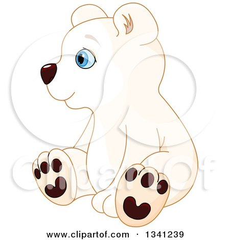 Clipart of a Cute Baby Polar Bear Cub Sitting and Facing Left - Royalty Free Vector Illustration by Pushkin