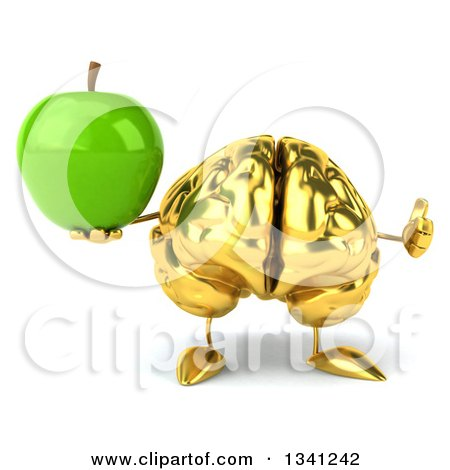 Clipart of a 3d Gold Brain Character Holding a Green Apple - Royalty Free Illustration by Julos