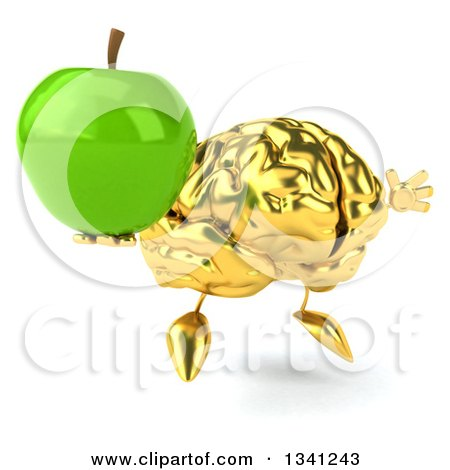 Clipart of a 3d Gold Brain Character Holding a Green Apple, Facing Slightly Right and Jumping - Royalty Free Illustration by Julos
