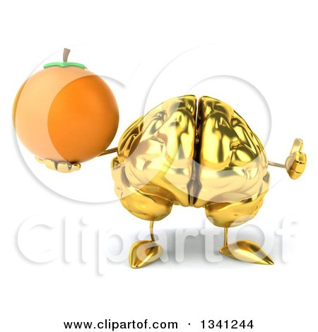 Clipart of a 3d Gold Brain Character Holding a Navel Orange and Giving a Thumb up - Royalty Free Illustration by Julos