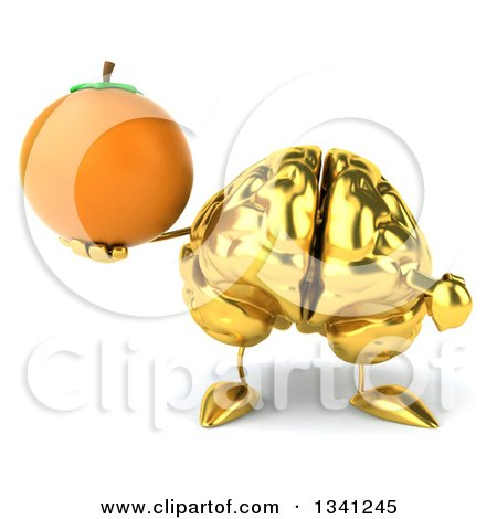 Clipart of a 3d Gold Brain Character Holding and Pointing to a Navel Orange - Royalty Free Illustration by Julos