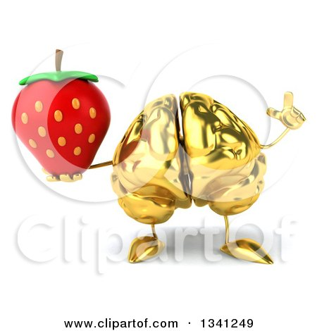 Clipart of a 3d Gold Brain Character Holding up a Finger and a Strawberry - Royalty Free Illustration by Julos