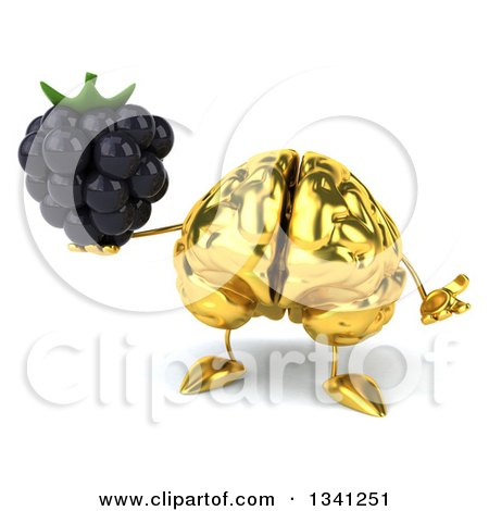 Clipart of a 3d Gold Brain Character Holding a Blackberry and Shrugging - Royalty Free Illustration by Julos