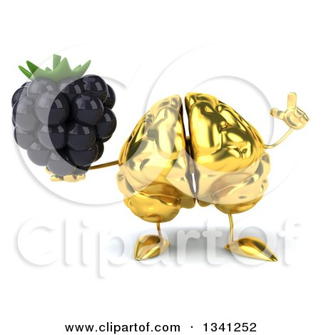 Clipart of a 3d Gold Brain Character Holding up a Finger and a Blackberry - Royalty Free Illustration by Julos