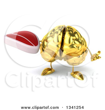 Clipart of a 3d Gold Brain Character Shrugging and Holding a Beef Steak - Royalty Free Illustration by Julos