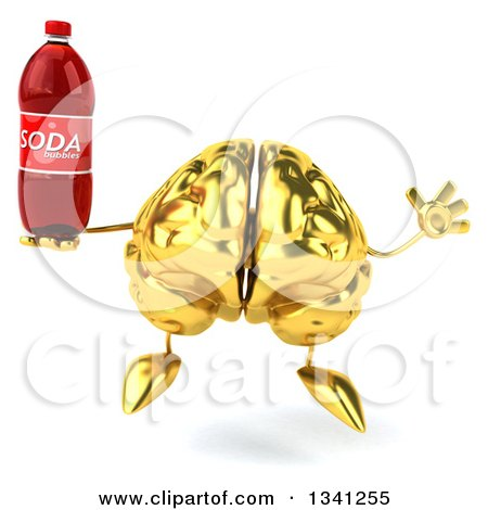 Clipart of a 3d Gold Brain Character Holding a Soda Bottle and Jumping - Royalty Free Illustration by Julos