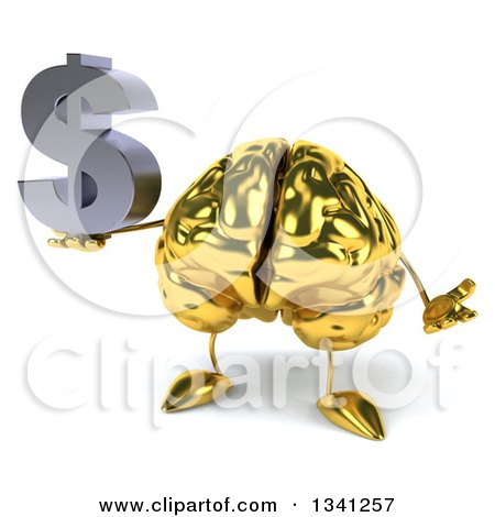 Clipart of a 3d Gold Brain Character Holding a Dollar Currency Symbol and Shrugging - Royalty Free Illustration by Julos
