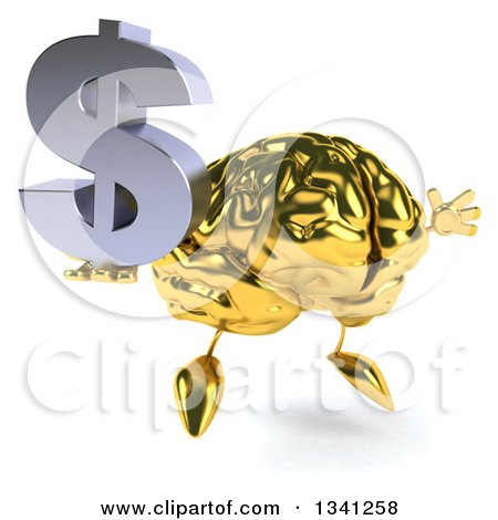 Clipart of a 3d Gold Brain Character Holding a Dollar Currency Symbol, Facing Slightly Right and Jumping - Royalty Free Illustration by Julos