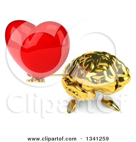 Clipart of a 3d Gold Brain Character Holding up a Red Love Heart - Royalty Free Illustration by Julos