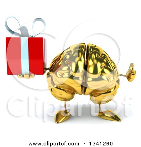 Clipart of a 3d Gold Brain Character Holding a Gift and Giving a Thumb up - Royalty Free Illustration by Julos