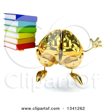 Clipart of a 3d Gold Brain Character Holding a Stack of Books and Jumping - Royalty Free Illustration by Julos