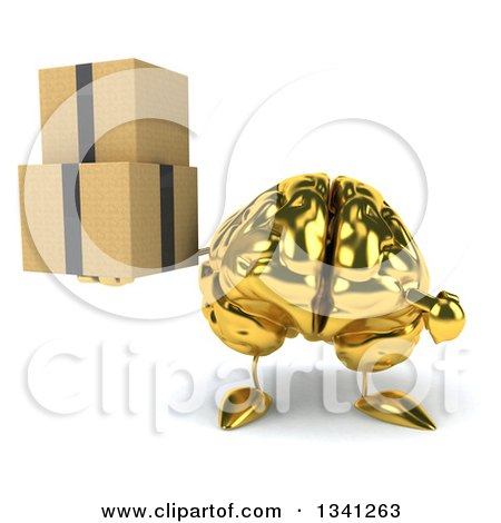 Clipart of a 3d Gold Brain Character Holding and Pointing to Boxes - Royalty Free Illustration by Julos