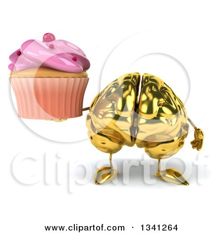 Clipart of a 3d Gold Brain Character Holding a Pink Frosted Cupcake - Royalty Free Illustration by Julos