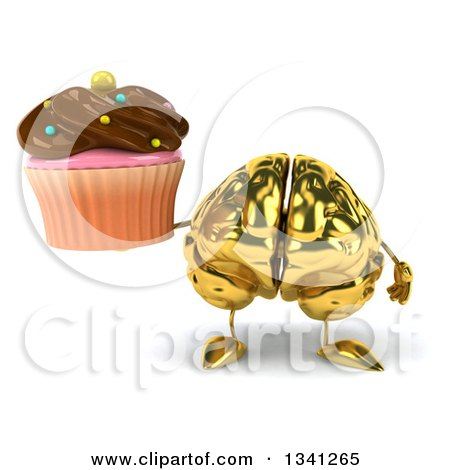 Clipart of a 3d Gold Brain Character Holding a Chocolate Frosted Cupcake - Royalty Free Illustration by Julos