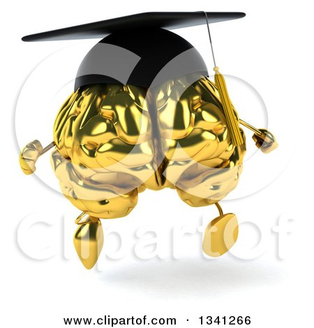 Clipart of a 3d Gold Brain Character Graduate Running - Royalty Free Illustration by Julos