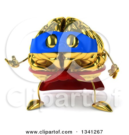Clipart of a 3d Gold Brain Super Hero Character Presenting - Royalty Free Illustration by Julos