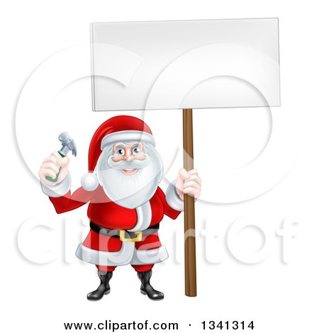 Clipart of a Happy Christmas Santa Claus Carpenter Holding a Hammer and Blank Sign 4 - Royalty Free Vector Illustration by AtStockIllustration